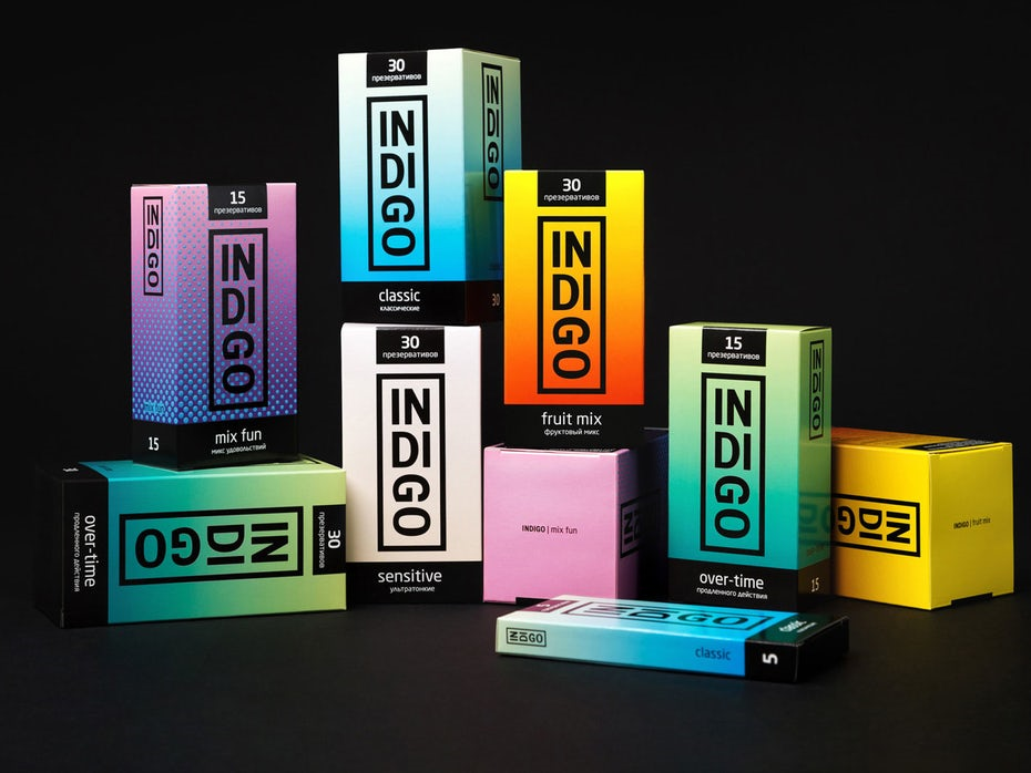 cartons with gradient design