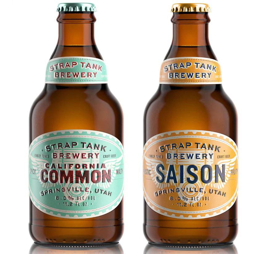 vintage design labels on bottles