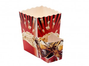 Popcorn box with drinks holder attached